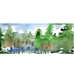 Watercolor forest landscape vector