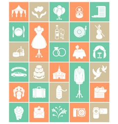 White Silhouette Wedding Icons vector