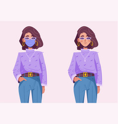 young hipster woman wearing medical protective vector image