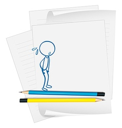 A paper with a drawing of a boy sweating vector image vector image