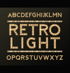alphabet with bulb lamps gold light vector image