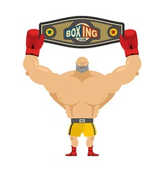 Boxing champion holds belt Winner in competitions vector image vector image