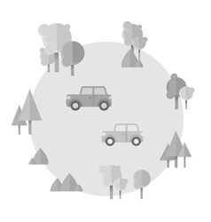 Flat cartoon cards with cars and forest icons vector image