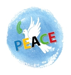 Peace dayWhite pigeonwatercolor blue sky vector image vector image