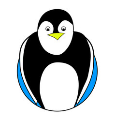 penguin sticker icon flat vector image vector image