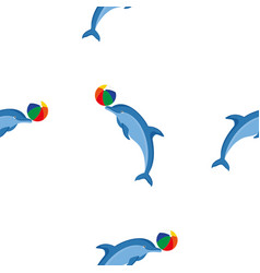 seamless pattern dolphins vector image
