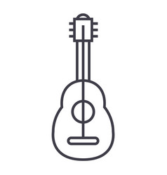 flamenco guitar line icon sign vector image vector image