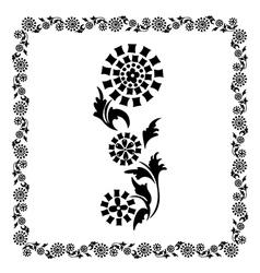 flower frame black ornament vector image vector image