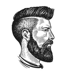 hand drawn portrait of man in profile hipster vector image vector image