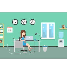 Happy woman working with laptop Office interior vector image vector image