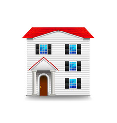 high three-storey house isolated on white vector image