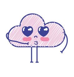 Kawaii nice tender cloud with arms vector