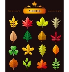 Leaves icon set for natural seasonal vector