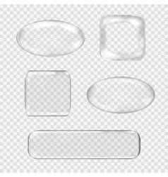 set of transparent glass buttons White vector image
