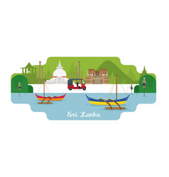 sri lanka travel and attraction landmarks vector image vector image