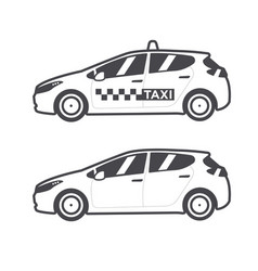 taxi car icon flat line vector image vector image