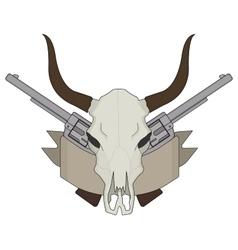 Wild west cow skull pistols ribbon logo color vector
