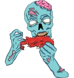 Zombie eating a piece of meat vector image