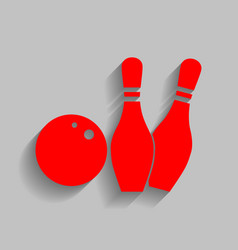 bowling sign red icon with vector image