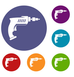 Drill icons set vector
