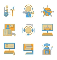 Flat style symbols for online education vector image