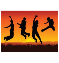 jumping on sunset vector image vector image