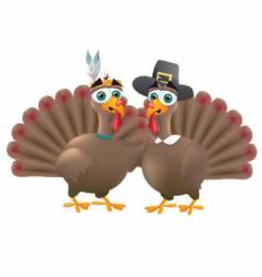 Indian and pilgrim turkeys vector image vector image