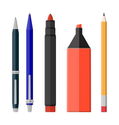 pens pencil markers set isolated on white vector image vector image