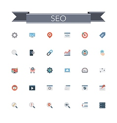 SEO Flat Icons vector image vector image