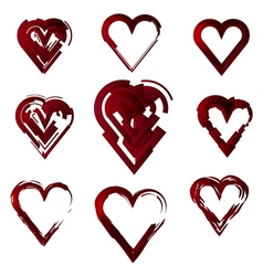 set of hearts stylized vector image