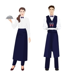 Young beautiful waitress and handsome waiter at vector image