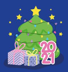 2021 happy new year cartoon tree gift lights vector image