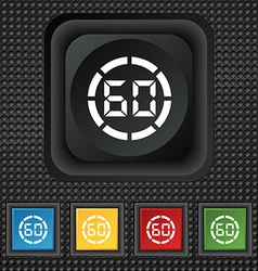 60 second stopwatch icon sign symbol squared vector