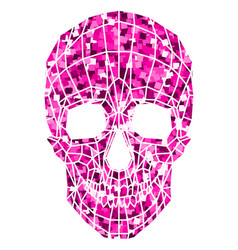 Abstract polygonal shine skull on a background vector