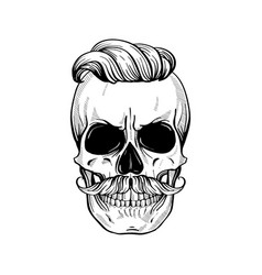 angry skull with hairstyle vector image