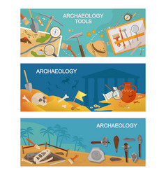 Archaeological excavations and tools horizontal vector