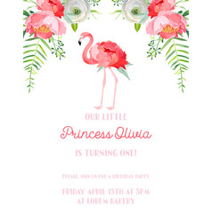 Baby birthday invitation card with flamingo vector