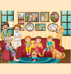 Big family member at house vector