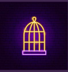 bird cage neon sign vector image