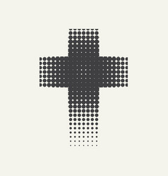 Black religion cross with halftone dots effects vector