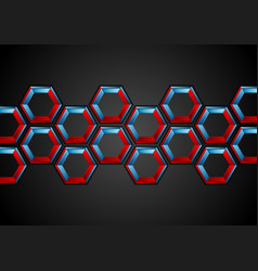 Blue and red hexagons abstract tech background vector