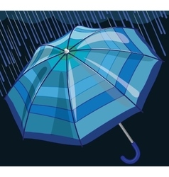 Blue umbrella protects from rain and storm vector image