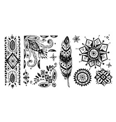 Boho style graphic elements beautiful hand drawn vector