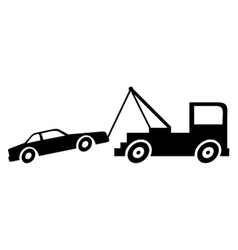 Broken down car with crane vector
