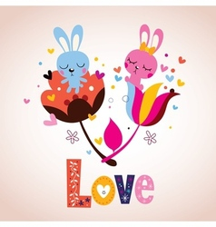 bunny characters in love vector image