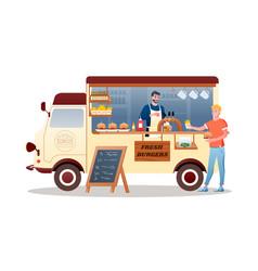 Burger street food market truck van car vehicle vector