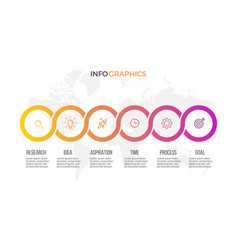 Business infographics presentation with 6 steps vector