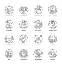 Business line icons 5 vector