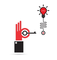 Businessman hand and key sign with creative light vector image