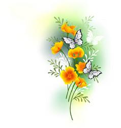California poppy with butterflies vector